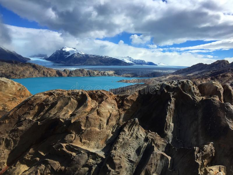 Gezichtspunt over Upsala-Gletsjer, Patagoni?, Argentini? stock afbeelding