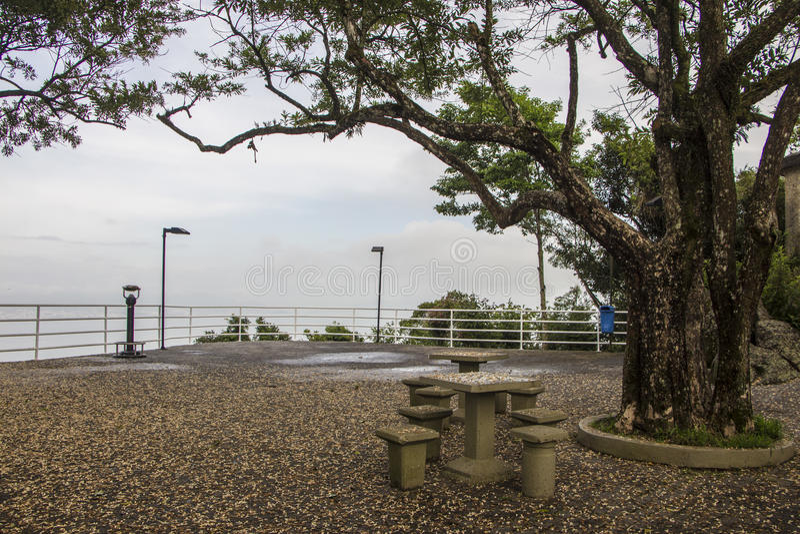 Gezichtspunt van Cruz Mount - Florianópolis/SC - Brazilië stock foto