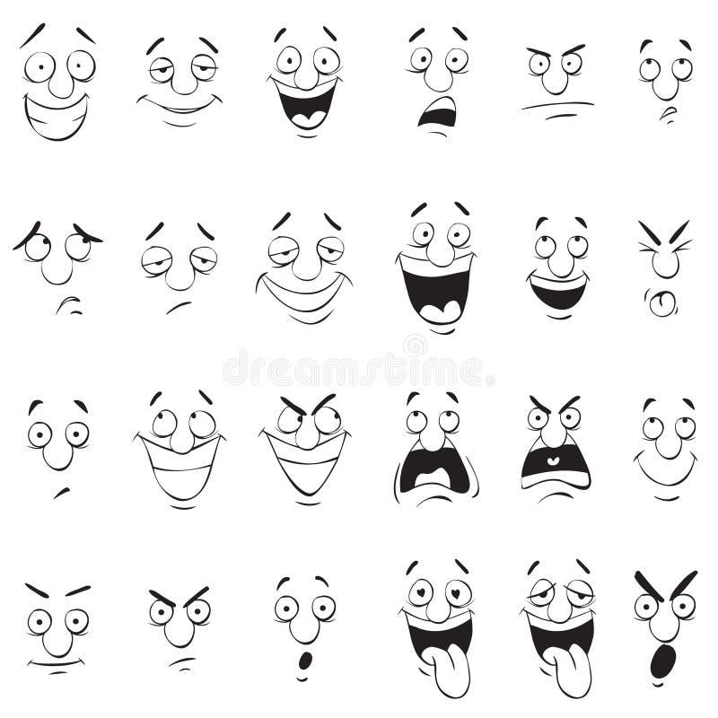 Gezichtsuitdrukkingen Het Achter en Witte Overzicht van de beeldverhaalkrabbel royalty-vrije illustratie