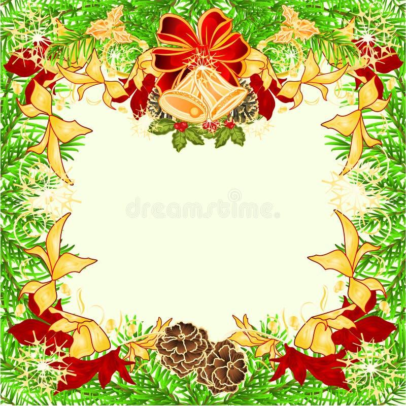 Gezierte Baumaste der roten und goldenen Poinsettias der Weihnachts- und des neuen Jahresrahmendekoration beugen und Glocken und  stock abbildung