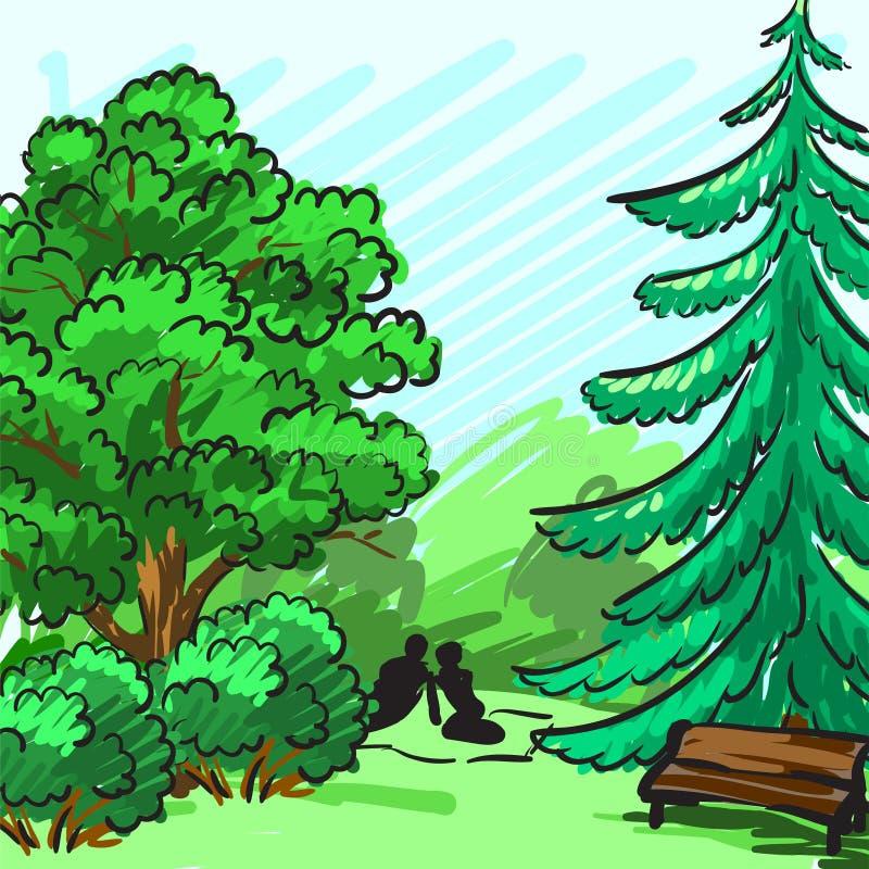 Gezierter und grüner Baum im Hintergrund Parken Sie, eine leere Bank, ein Paar auf Picknick Unternehmensidentitä5 wird eigenhändi stock abbildung