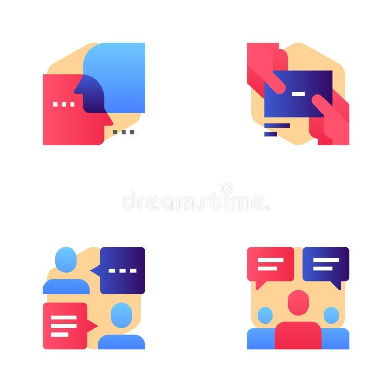 Gezoem Marketing en Marketing Vector Geplaatste Lijnpictogrammen Met meerdere kanalen sociale Media die, Virtuele gemeenschap op  vector illustratie
