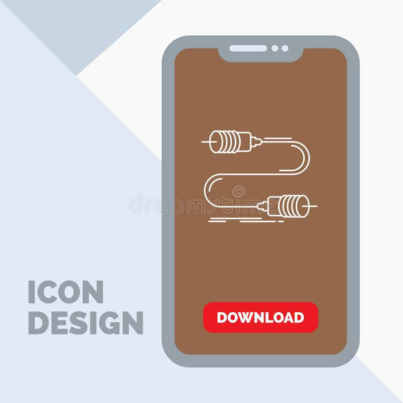 Gezoem, mededeling, interactie, marketing, het Pictogram van de draadlijn in Mobiel voor Downloadpagina stock illustratie