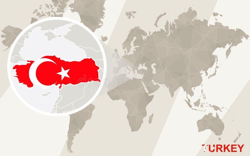 Gezoem op de Kaart en de Vlag van Turkije De kaart van de wereld royalty-vrije illustratie