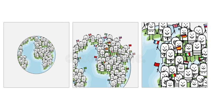 Gezoem op wereldmensen royalty-vrije illustratie