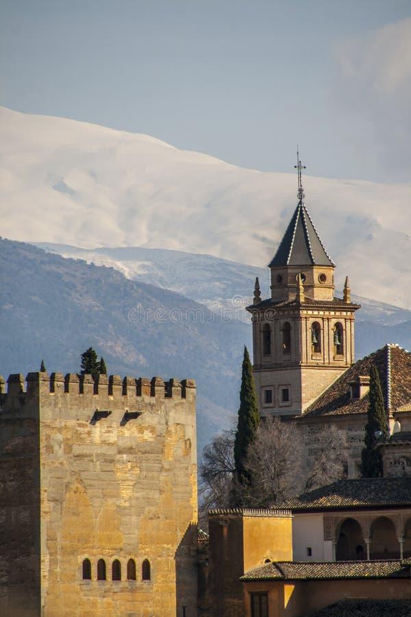 Gezoemmening van beroemde Alhambra, Granada, Spanje stock afbeelding