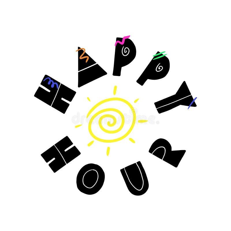 Gezogene Beschriftung des glücklichen Stundenzeigers lizenzfreie abbildung