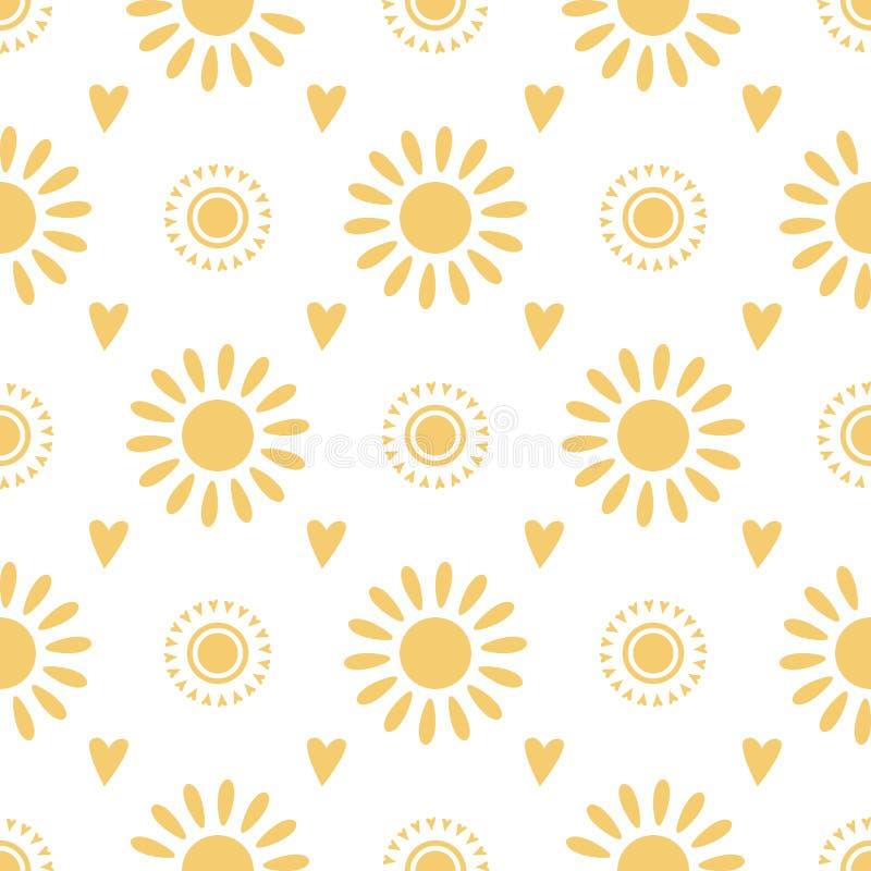 Gezogene gelbe Gekritzelsonnen nahtlose des Musters nette Handauf wei?er Hintergrund Sommerillustration lizenzfreie abbildung