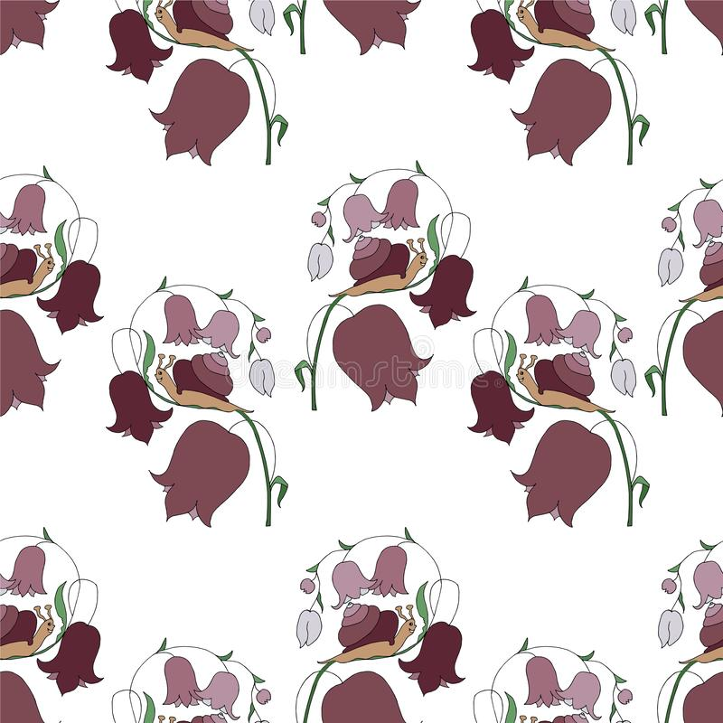 Gezogene Gestaltungselemente nahtlose des Musters der Glockenblumenschnecke nette der Karikaturen bunte Hand lizenzfreie abbildung