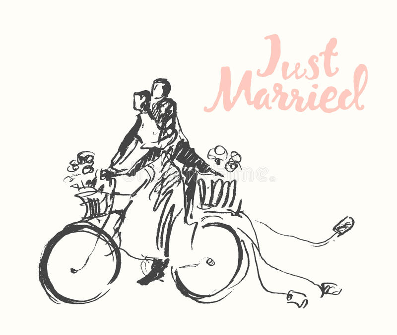 Gezogene glückliche Brautbräutigamfahrrad-Vektorskizze lizenzfreie abbildung