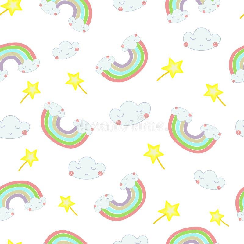 Gezogene Illustration nahtlose Muster des Vektors Handeines Regenbogens aus den Wolken heraus lizenzfreie abbildung