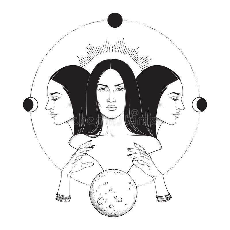 Gezogene lokalisierte Vektorschwarzweiss-illustration dreifache Mondgöttin Hecate altgriechischer Mythologie Hand Blackwork, Blit lizenzfreie abbildung