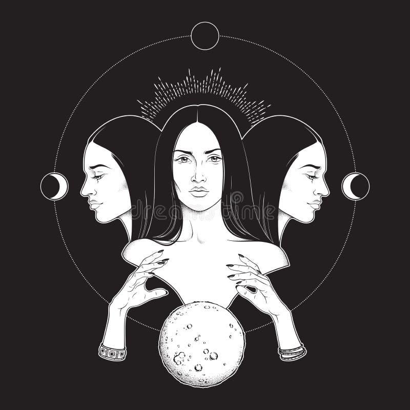 Gezogene lokalisierte Vektorschwarzweiss-illustration dreifache Mondgöttin Hecate altgriechischer Mythologie Hand Blackwork, Blit stock abbildung