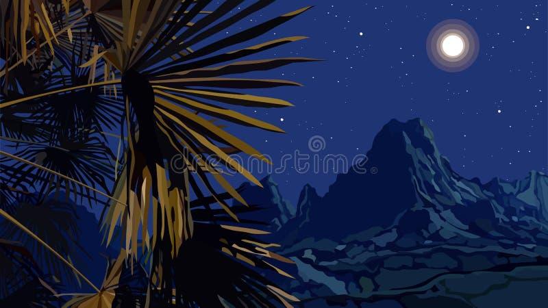 Gezogene Nachtlandschaft von Palmblättern auf einem Hintergrund von Bergen stock abbildung