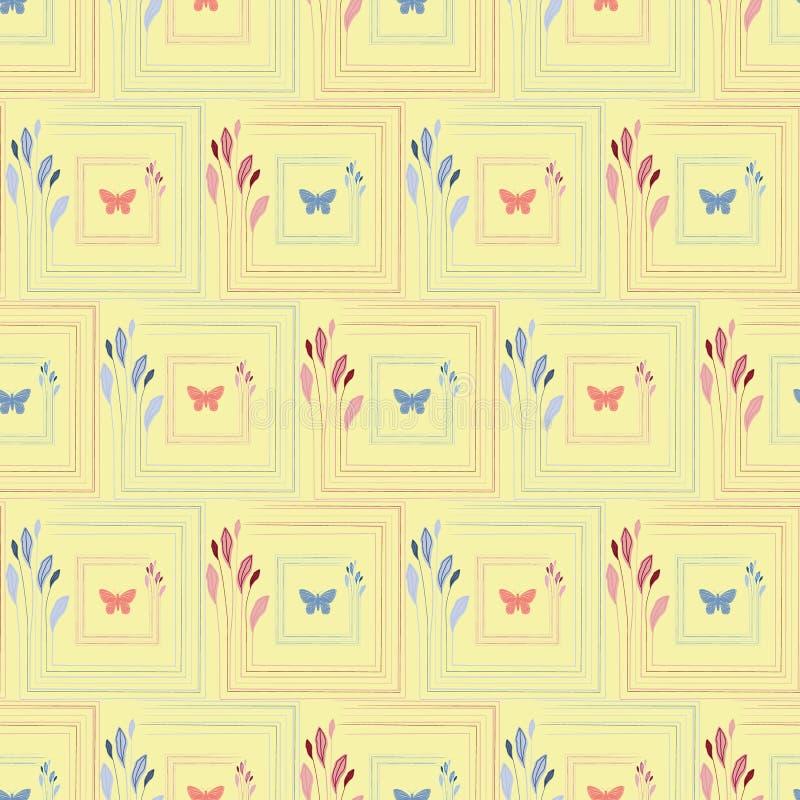 Gezogene Schmetterlinge der empfindlichen Koralle und der blauer Hand in den eleganten quadratischen mit Blumenrahmen Nahtloses V lizenzfreie abbildung
