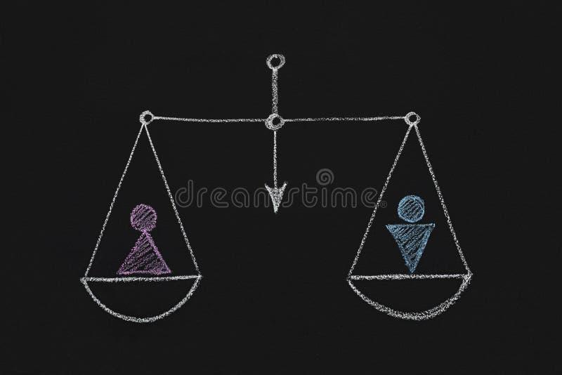 Gezogene Skalen mit den männlichen und weiblichen Geschlechtszahlen stockbild