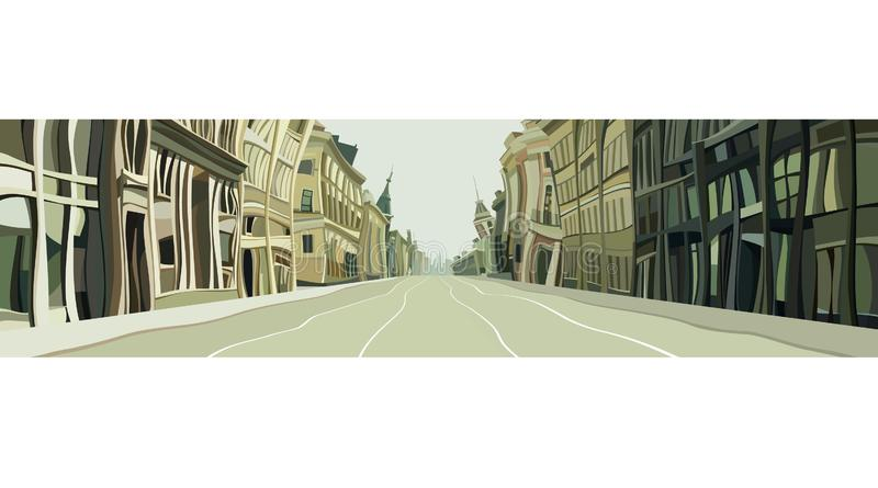 Gezogene Stadtstraße von den Kurven von Karikaturhäusern stock abbildung