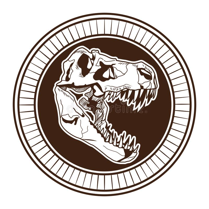 Gezogene Tätowierungsikone des Dinosaurierhauptskeletts stock abbildung
