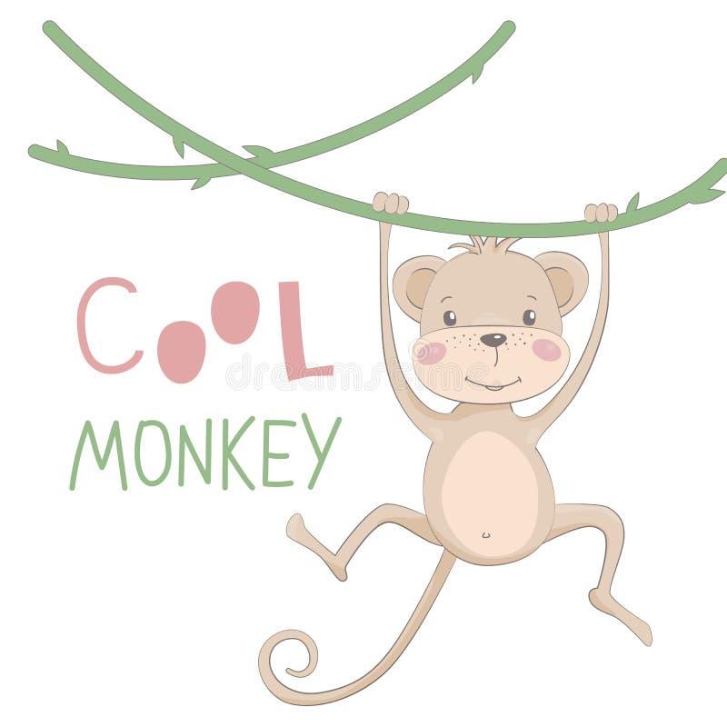 Gezogene Vektorillustration des netten Affen mit dem Beschriften des kühlen Affen vektor abbildung