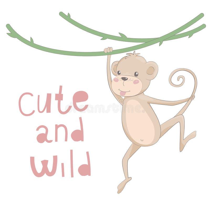 Gezogene Vektorillustration des netten Affen mit dem Beschriften nett und wild stockbild