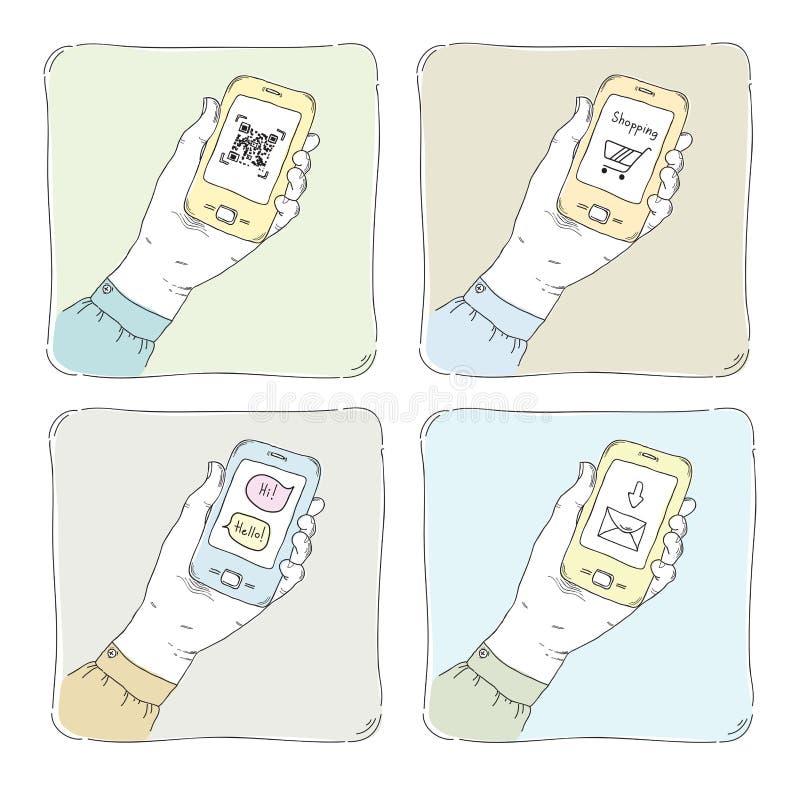Unter Verwendung des smartphone Illustrationssatzes stock abbildung