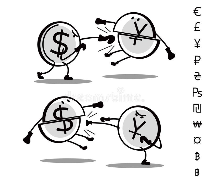 Gezogene Währungen des Spaßes kämpfen sich Kampf-Dollar und Yuan lizenzfreie abbildung