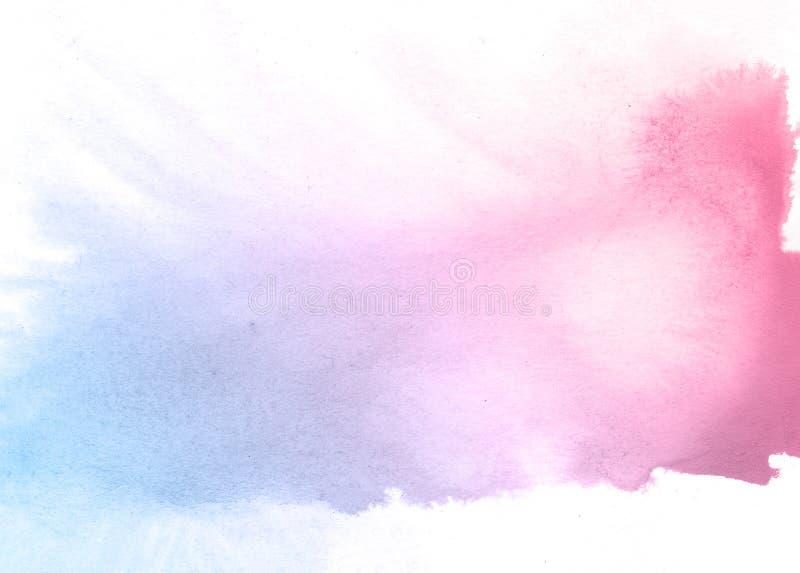 Gezogener Aquarellhintergrund des Rosas und der blauer Blumenhand, Rasterillustration stockbild