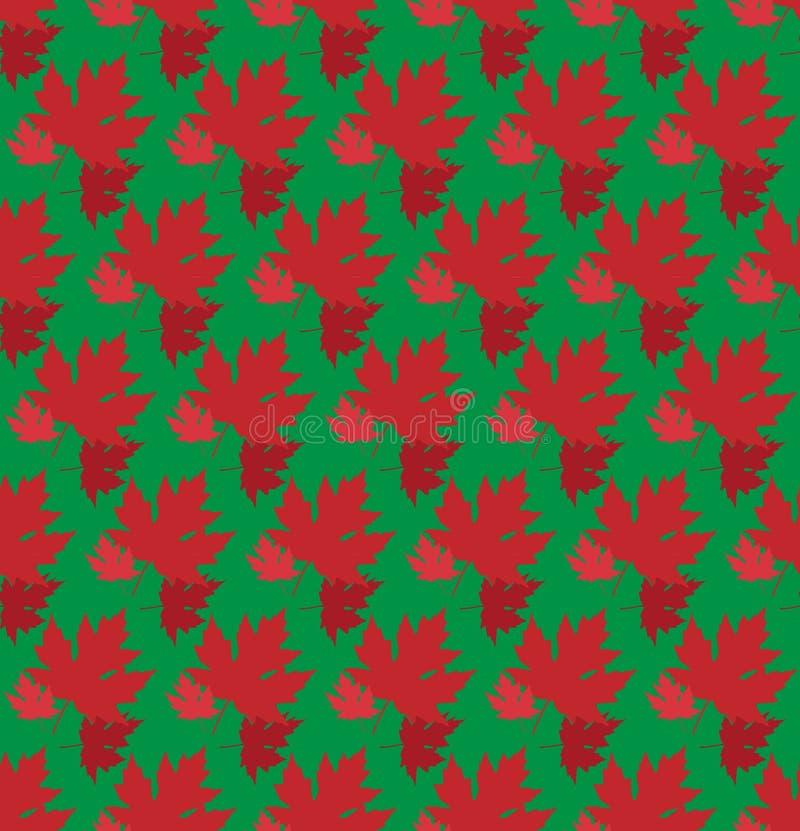 Gezogener Herbsthintergrund mit schönen Blättern Nahtloses Muster Rotahornblätter, Vektor lokalisiert oder grüner Hintergrund lizenzfreie abbildung
