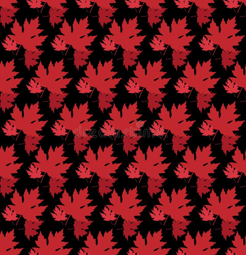 Gezogener Herbsthintergrund mit schönen Blättern Nahtloses Muster Rotahornblätter, Vektor lokalisiert oder schwarzer Hintergrund lizenzfreie abbildung