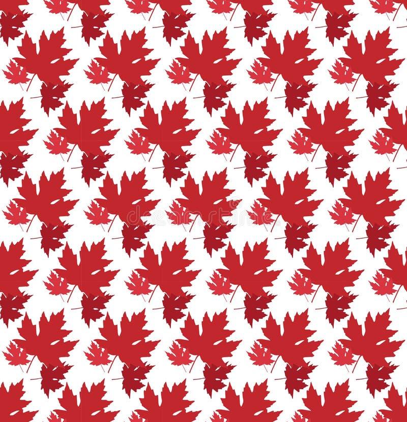 Gezogener Herbsthintergrund mit schönen Blättern Nahtloses Muster Rotahornblätter, Vektor lokalisiert oder weißer Hintergrund lizenzfreie abbildung