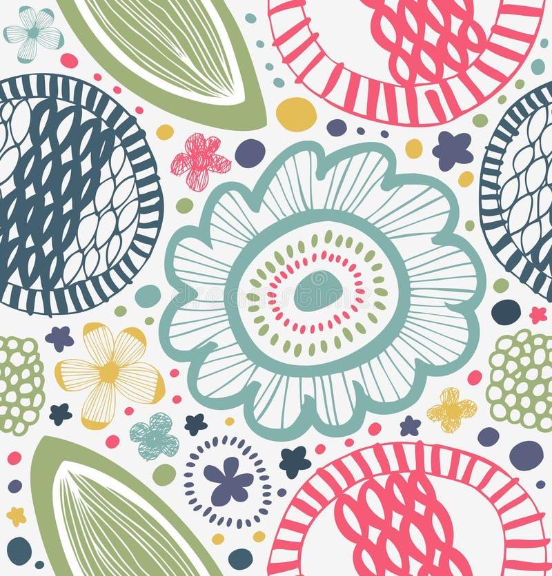 Gezogenes grafisches Muster in der ländlichen Art Abstrakter Hintergrund mit stilisierten Blumen vektor abbildung