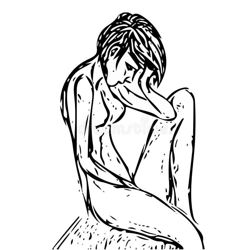 Gezogenes Mädchen sitzender obektiv Kopf auf seiner Hand und traurig vektor abbildung