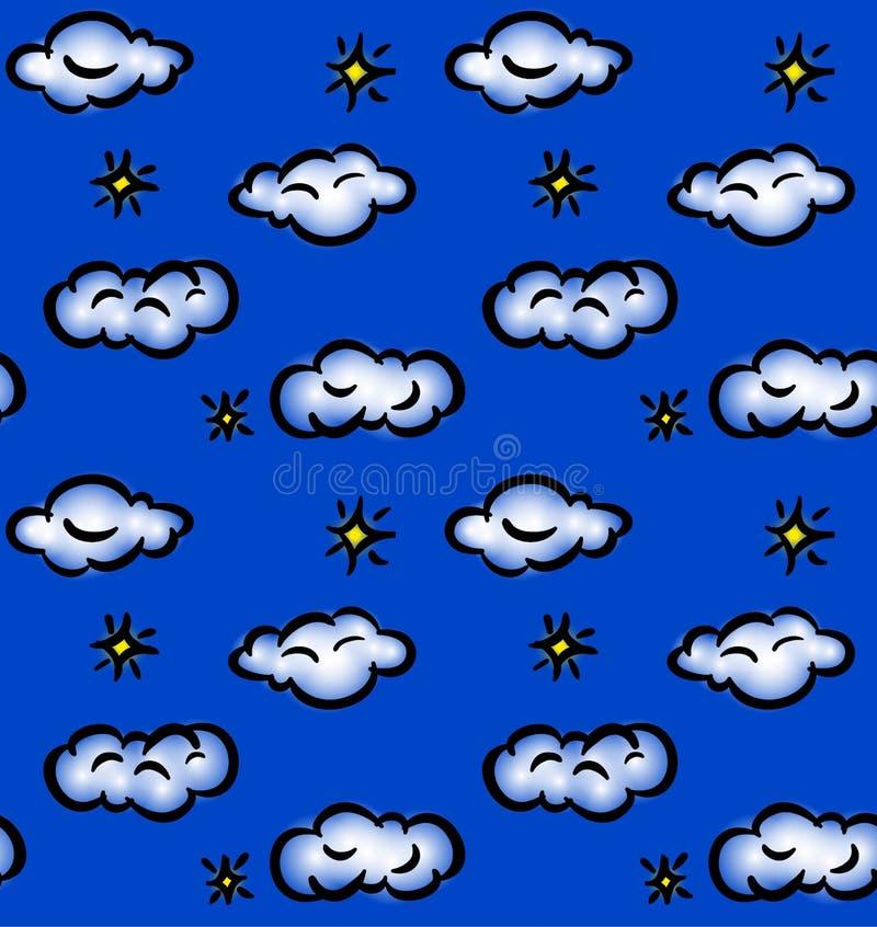 Gezogenes nahtloses Muster mit Wolken und Sternen lizenzfreie abbildung