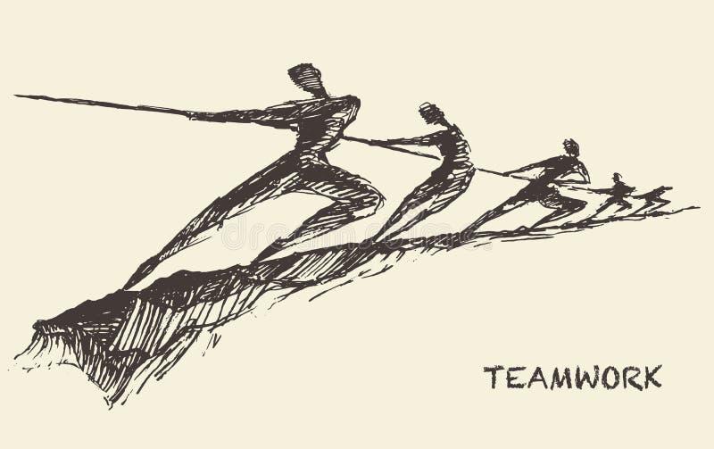 Gezogenes Vektorteamteamwork-Partnerschaftskonzept lizenzfreie abbildung