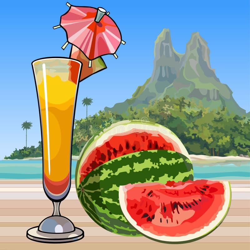 Gezogenes Weinglas mit einem Cocktail und einer Wassermelone in den Tropen vektor abbildung