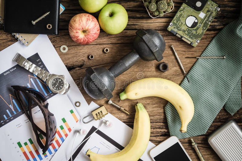 Gezond Bedrijfs Actief levensstijlenconcept gezonde vruchten en a stock fotografie