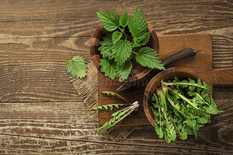 Gezond de lentevoedsel met netel en paardebloem royalty-vrije stock afbeeldingen