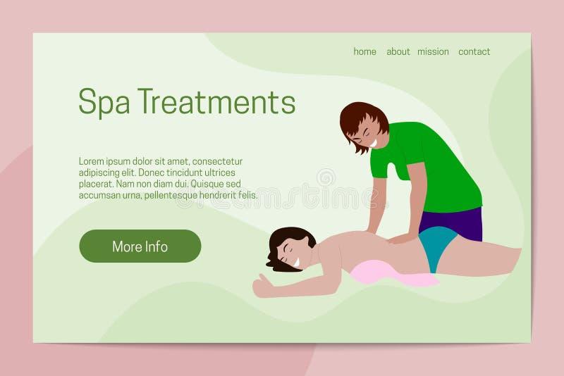 Gezond de levensstijlconcept van kuuroordbehandelingen De masseuse dient de cliënt Landend Paginamalplaatje stock illustratie