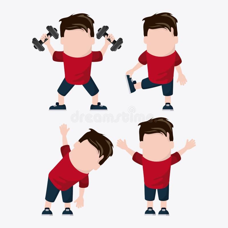 Gezond de levensstijlontwerp van het jongensgewichtheffen vector illustratie