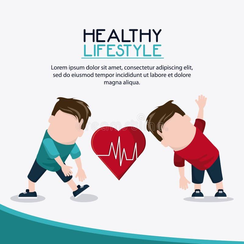 Gezond de levensstijlontwerp van het jongensgewichtheffen stock illustratie
