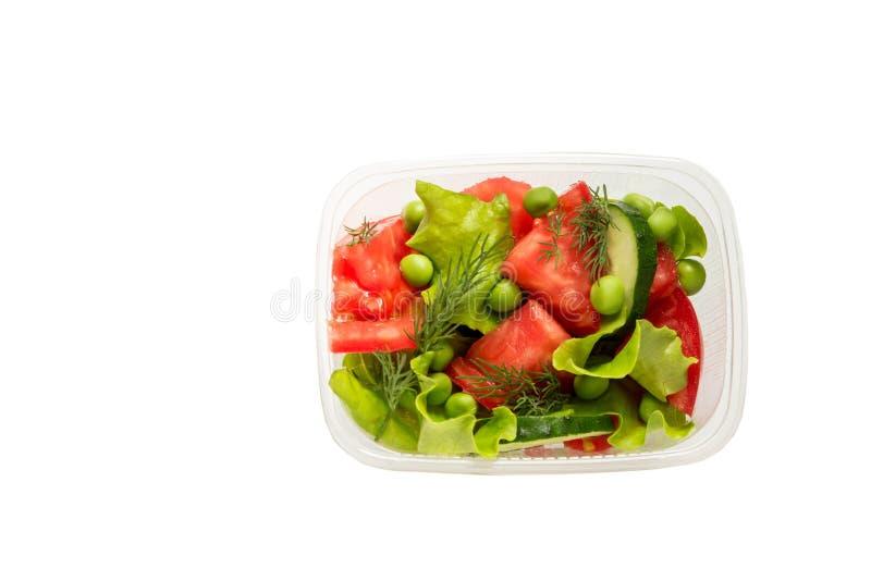 Gezond die voedsel, in containers, groenten wordt gekookt op witte achtergrond worden geïsoleerd stock fotografie