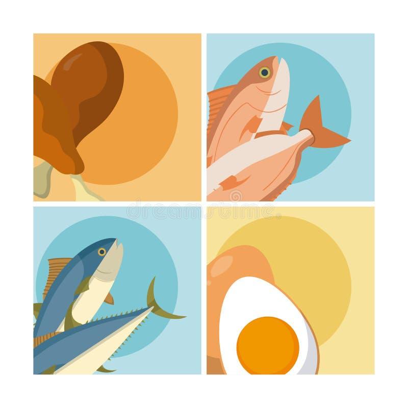 Gezond en heerlijk voedsel stock illustratie