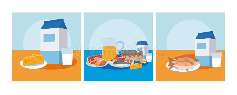 Gezond en heerlijk voedsel royalty-vrije illustratie
