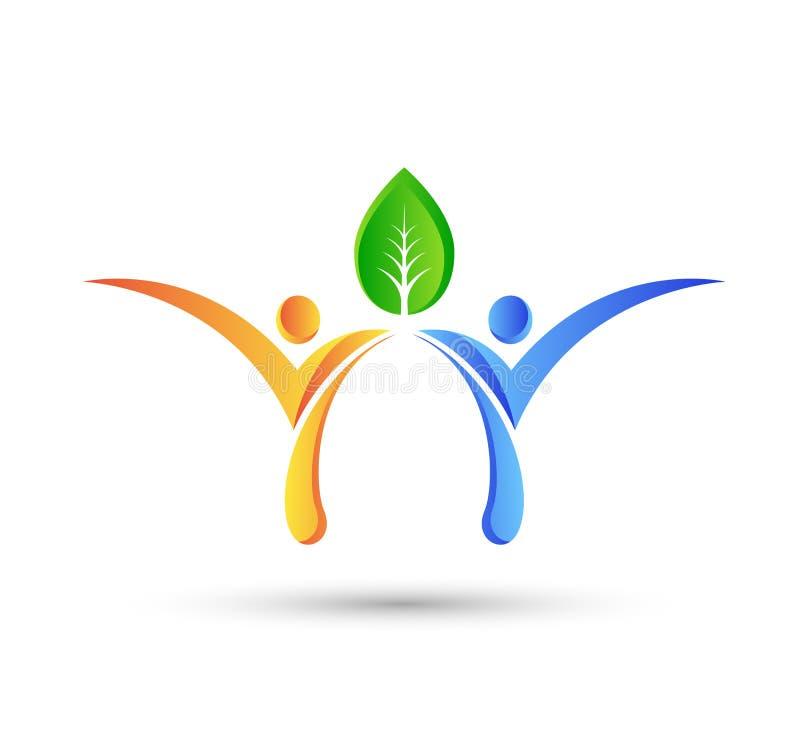 Gezond groen conceptenembleem, de mensenembleem van het ecoleven, zorg, het malplaatje van de mensenzorg Geschiktheid, fysiothera royalty-vrije illustratie