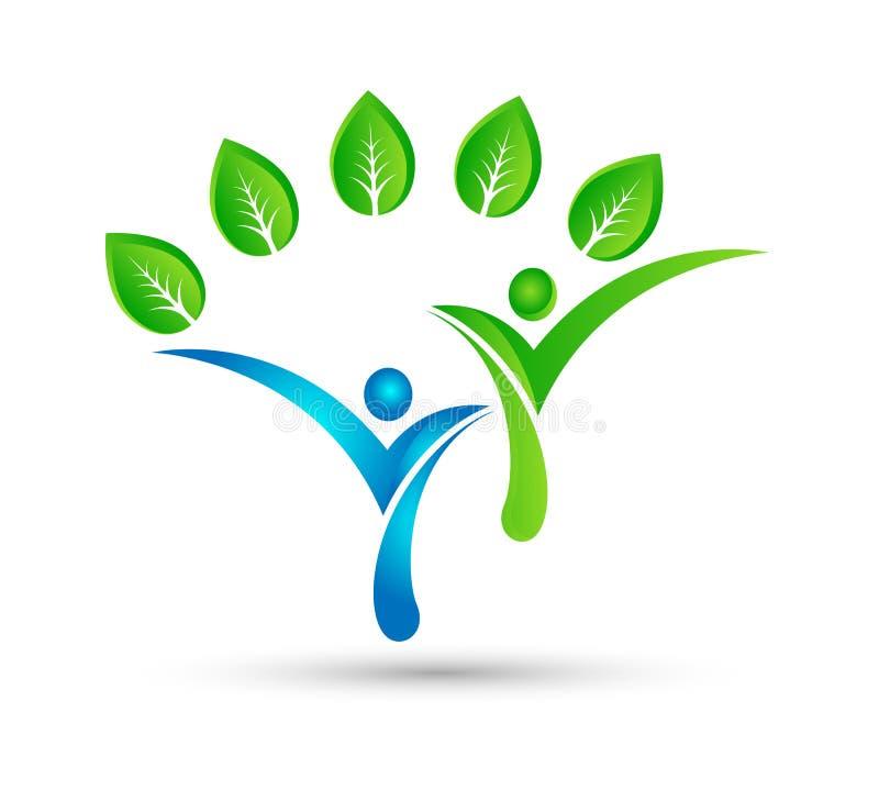 Gezond groen conceptenembleem, de mensenembleem van het ecoleven, zorg, het malplaatje van de mensenzorg Geschiktheid, fysiothera vector illustratie