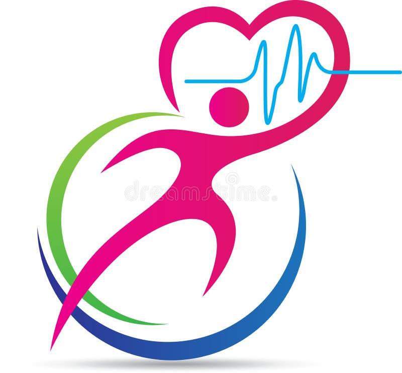 Gezond hartembleem stock illustratie