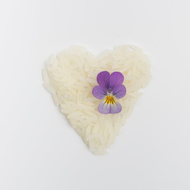 Gezond het Eten Concept, Eco, rijst en bloemen op een witte achtergrond royalty-vrije stock afbeelding