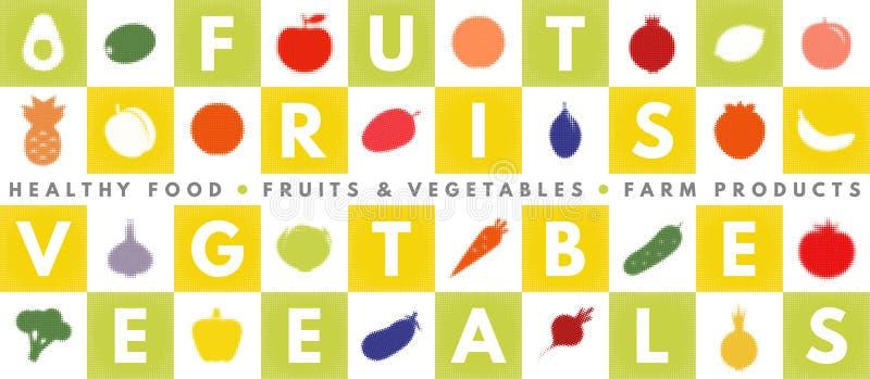 Gezond het eten vectorconcept met vruchten en groenten stock illustratie