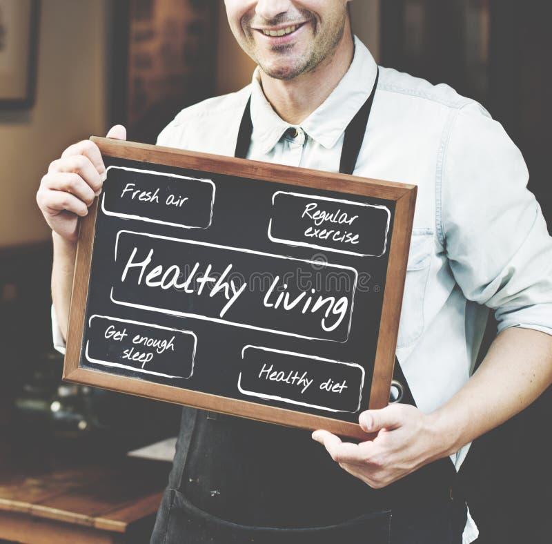 Gezond het Leven Wellness de Woorden Grafisch Concept van de Dieetoefening royalty-vrije stock afbeeldingen