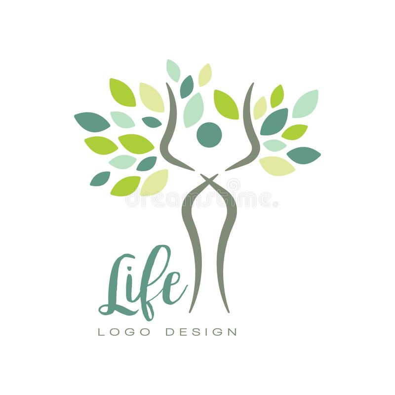 Gezond het levensembleem met abstract menselijk silhouet en groene bladeren Vlak vectorembleem voor yogastudio of wellnesscentrum royalty-vrije illustratie